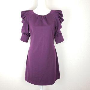 Jessica Simpson purple shift dress puff sleeves